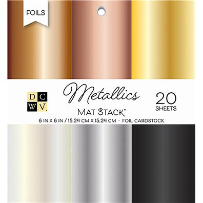 "Metallics Foil Solid DCWV Single-Sided 6x6"" Cardstock Stack"