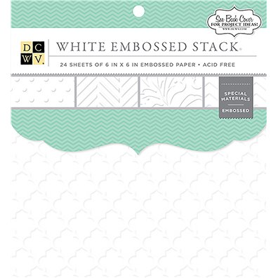 "White Embossed Solid DCWV Single-Sided 6x6"" Cardstock Stack"