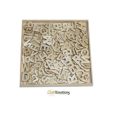 Craft Emotions Wooden Ornament Box - Alphabet Basic Small - 250 stk u. Serif