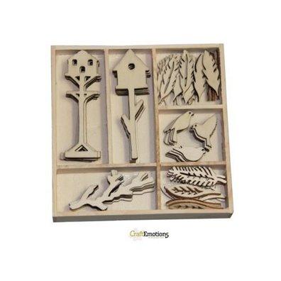 Craft Emotions Wooden Ornament Box - Botanical Summer - Birdshou