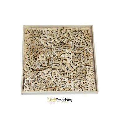 Craft Emotions Wooden Ornament Box - Alphabet Basic Large - 250 stk m. Serif