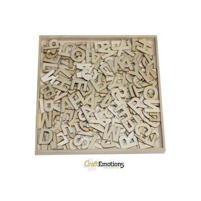 Craft Emotions Wooden Ornament Box - Alphabet Basic Large - 250 stk u. Serif