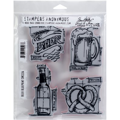 Tim Holtz Beer Blueprint Cling Stamp