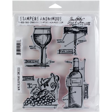 Tim Holtz Wine Blueprint Cling Stamp