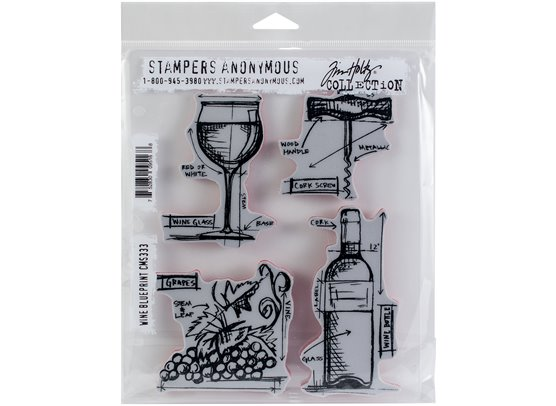 Tim Holtz Wine Blueprint Cling Stamp