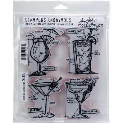Tim Holtz Cocktails Blueprint Cling Stamp