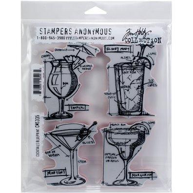 Tim Holtz Cocktails Blueprint Cling Stamp