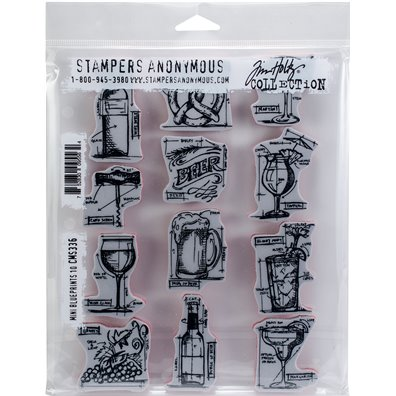 Tim Holtz Mini Blueprints 10 Cling Stamp