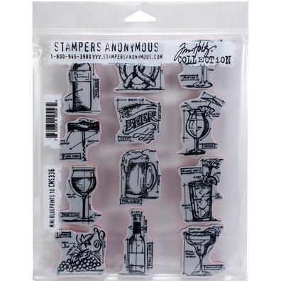 Tim Holtz Mini Blueprints 10 Cling Stamp