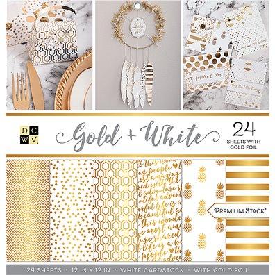 """Gold + White Premium 12""""x12"""" Cardstock Stack fra DCWV"""