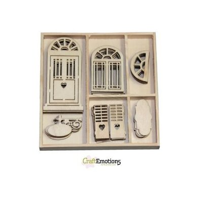 Craft Emotions Wooden Ornament Box - Romantic Provence door and window