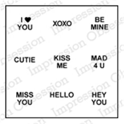 Impression Obsession stempel - Conversations hearts sayings