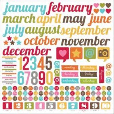 Simple Stories Snap Life Calendar Cardstock Stickers