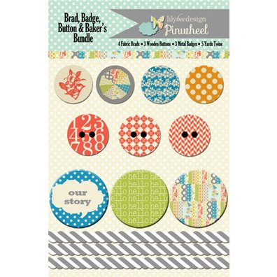 Lily Bee Design Pinwheel Brad, Badge, Buttons & Bakers Twine Bun