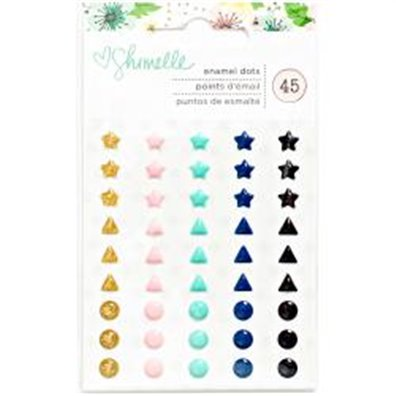Shimelle Little By Little Enamel Shapes & Dots 45/Pkg-Glitter Stars
