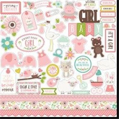 "Sweet Baby Girl Cardstock Stickers 12x12"" fra Echo Park"