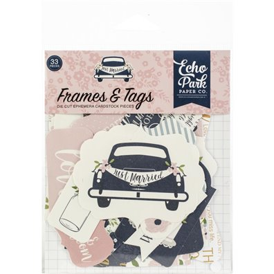 Echo Park Just Married Frames & Tags Die Cuts Ephemera