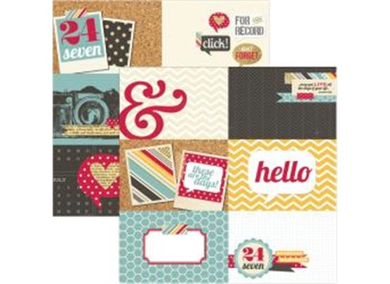 Simple Stories 24/Seven Mønsterpapir 4x6 Journaling Card Element