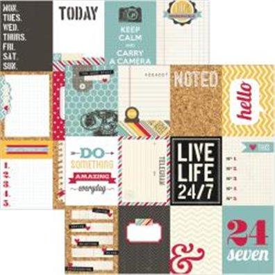 Simple Stories 24/Seven Mønsterpapir 3x4 Journaling Card Element