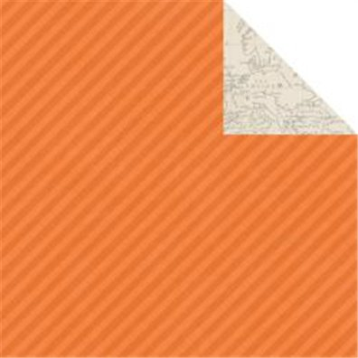 Simple Stories Urban Traveller Mønsterpapir Orange Chevron/ Map