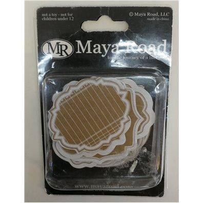 Maya Road Kraft Scroll Frame Journaling Frame tags White
