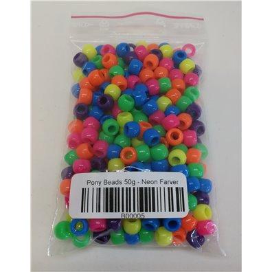 Pony Beads 50 g - Neon Farver