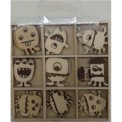 Artemio Wood Veneer - Monsters Mini Silhouettes