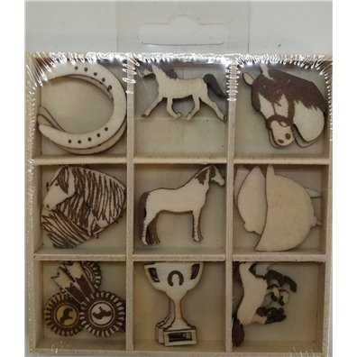 Artemio Wood Veneer - Horses Mini Silhouettes