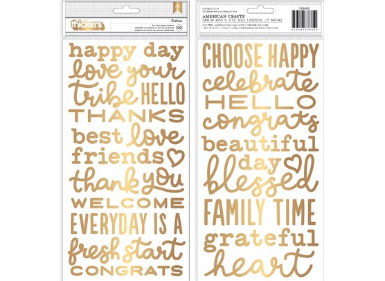 Thickers - Kathrine Gold Foil Foam Phrase Stickers