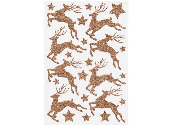 Glitter stickers - Kobber rensdyr