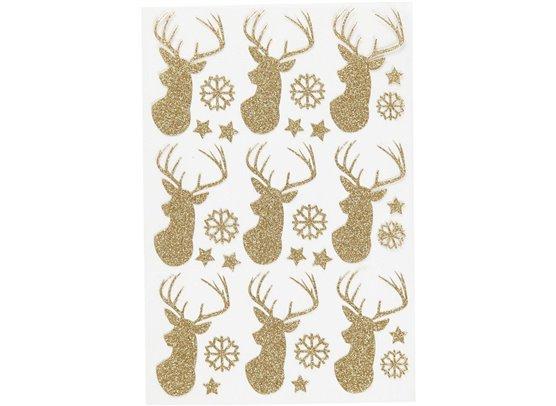 Glitter stickers - Guld rensdyr