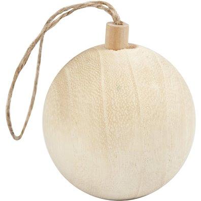 Julekugle i træ, 4,8 cm diameter