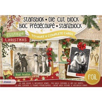 Studio Light Udstanset Blok A5 - Vintage Christmas