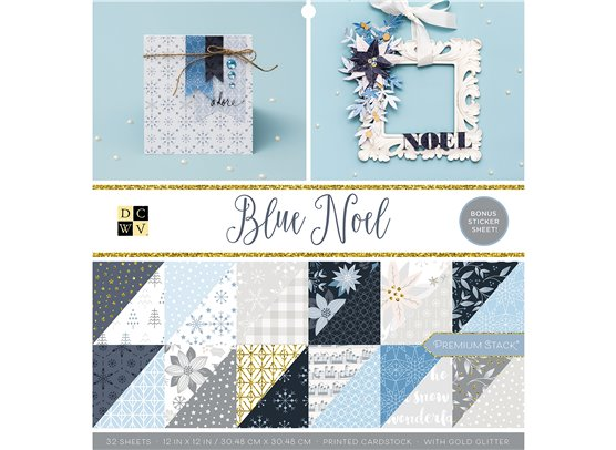 "DCWV - Blue Noel 12x12"" Double sided Cardstock Stack"
