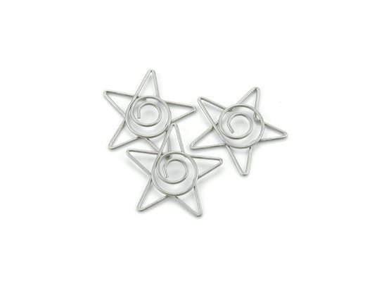 Pewter Star Clips - 15 stk.