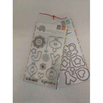 Mama Elephant Joy Ornaments stempel og dies sampak