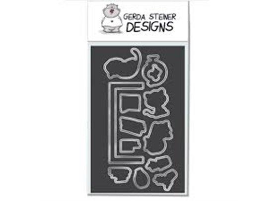 Gerda Steiner Designs On The Bookshelf stempel og dies sampak