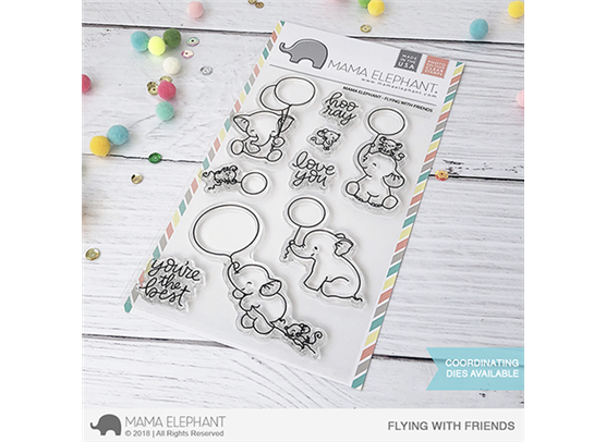 Mama Elephant Flying With Friends stempel og dies sampak