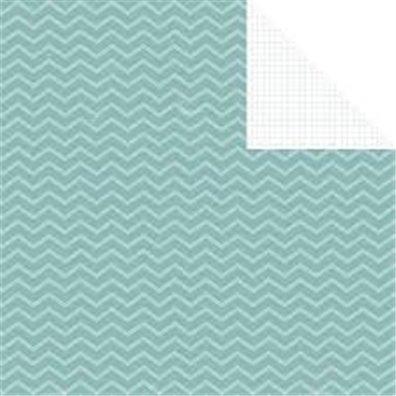 Simple Stories 24/Seven Mønsterpapir Blue Chevron/Grid