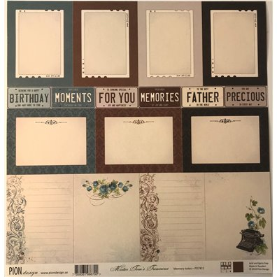 Mister Tom's Treasures – Memory Notes mønsterpapir fra Pion Design