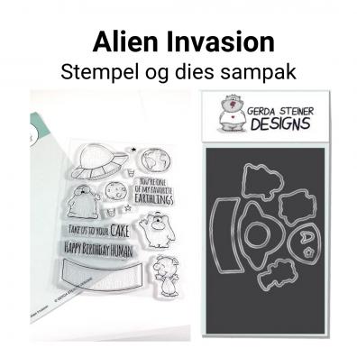 Gerda Steiner Designs Alien Invasion stempel og dies sampak