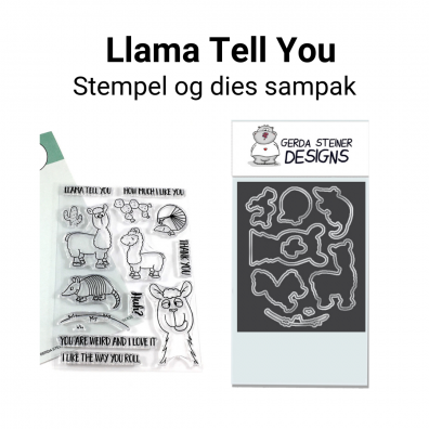 Gerda Steiner Designs Llama Tell You stempel og dies sampak