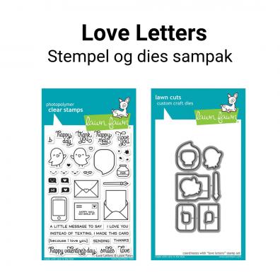 Lawn Fawn Love Letters stempel og dies sampak