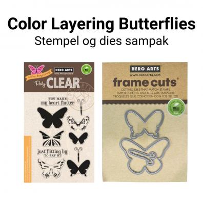 Hero Arts Color Layering Butterflies stempel og dies sampak