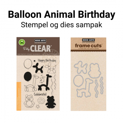 Hero Arts Balloon Animal Birthday stempel og dies sampak