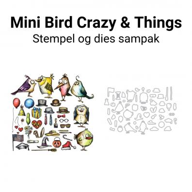 Tim Holtz Mini Bird Crazy & Things stempel og dies sampak