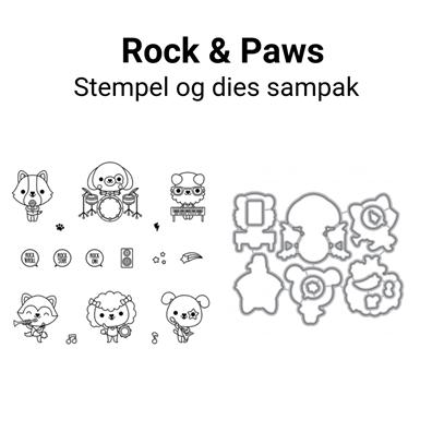 Mama Elephant Rock And Paws stempel og dies sampak
