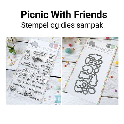 Mama Elephant Picnic With Friends stempel og dies sampak