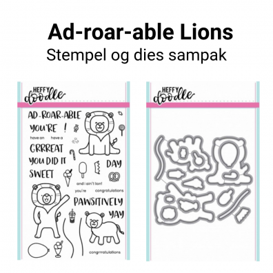 Heffy Doodle Ad-roar-able Lions stempel og dies sampak