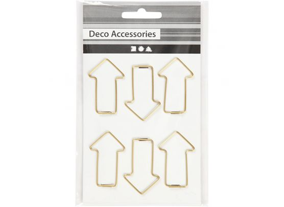 Metal Paperclips - Gold Arrows  40x25 mm - 6 pcs